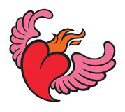 Burning flame heart with wings Stock Photography