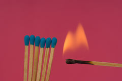 Burning Flame  Matchstick Royalty Free Stock Photos