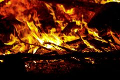 The burning flame of a night fire royalty free stock photos