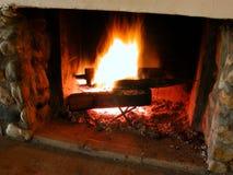 Burning flames 2. Burning flames inside a fireplace (long exposure Stock Photo