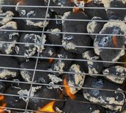 Burning flames and barbecue. Closeup Stock Images