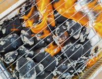 Burning flames and barbecue. Closeup Stock Photography