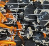 Burning flames and barbecue. Closeup Royalty Free Stock Images