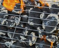 Burning flames and barbecue. Closeup Royalty Free Stock Photography