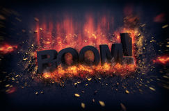 Burning flames and explosive sparks - BOOM Royalty Free Stock Image