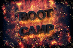 Burning flames and explosive sparks - BOOT CAMP Royalty Free Stock Photography