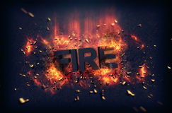 Burning flames and explosive sparks - Fire Stock Photography