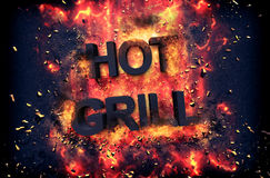 Burning flames and explosive sparks - HOT GRILL Stock Photo