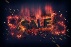 Burning flames and explosive sparks - SALE Stock Image