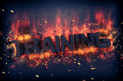 Burning flames and explosive sparks - TRAINING Royalty Free Stock Photos