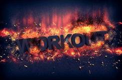 Burning flames and explosive sparks - WORKOUT Stock Image