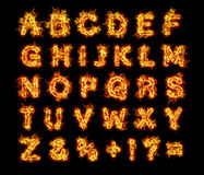 Burning flames fire alphabet letters. Set, capitals Royalty Free Stock Image