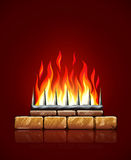 Burning flames of fire in brick stones fireplace vector. Burning flames of hot fire in brick stones fireplace on red background vector illustration. Heating Stock Photo