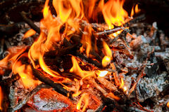Burning Flames and Glowing Coal in BBQ, HDR image Royalty Free Stock Photo