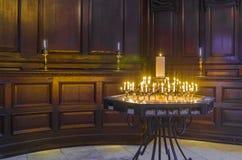 Burning flames inside a church Royalty Free Stock Photos