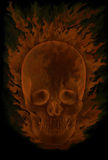 Burning in flames skull. On a black background Stock Image