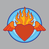 Burning flaming heart Stock Image