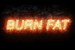 Burning font burn fat fire word text with flame and smoke on black background, concept of medical diet nutrition healthy life. Style Royalty Free Stock Photography