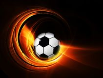 Burning football/soccer ball. Football/soccer ball on fire illustration on black background Royalty Free Stock Photography