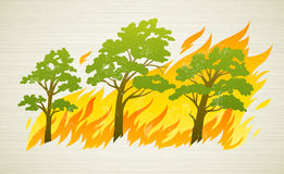 Burning forest trees in fire disaster. Burning forest trees in fire flames - natural disaster concept, vector illustration. EPS10. Transparent objects used for royalty free illustration