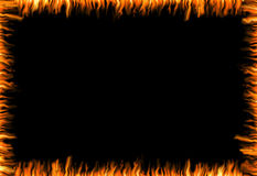 Burning frame. Abstract black background with flames at the borders Stock Photo