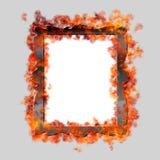 Burning framed mirror. On grey background Stock Photography