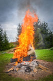 Burning furniture on a big bonfire Royalty Free Stock Images