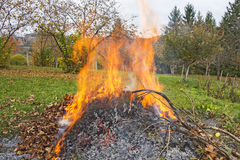 Burning of garden waste Royalty Free Stock Photo
