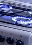 Burning Gas 1. Blue gas flames - stove burner Royalty Free Stock Photography