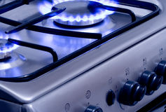 Burning Gas 1. Blue gas flames - stove burner royalty free stock photos