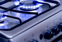 Burning Gas 1. Blue gas flames - stove burner Royalty Free Stock Photos