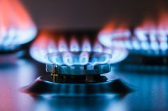 Burning gas burner. Blue fire with a red flame Stock Photos