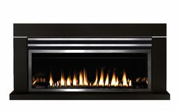 Burning gas fireplace isolated on white background.  royalty free stock image