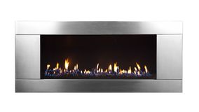 Burning gas fireplace isolated on white background.  stock images