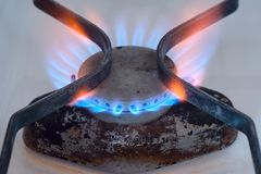 Burning gas flame of a gas stove Stock Photography