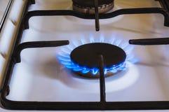 Burning gas, gas stove burner, hob in kitchen. Burning gas, gas stove burner, hob in the kitchen stock image