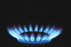 Burning Gas Oven In Kitchen. Close up Royalty Free Stock Photo
