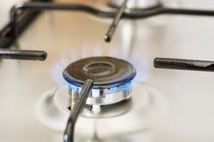 Burning gas in range burner Royalty Free Stock Photos