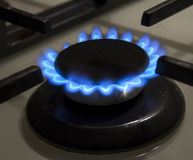 Burning gas stove hob blue flames close up in the dark on a blac Stock Photos