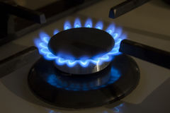 Burning gas stove hob blue flames close up in the dark on a blac Stock Photo