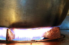 Burning on a gas stove. In the kitchen Royalty Free Stock Images