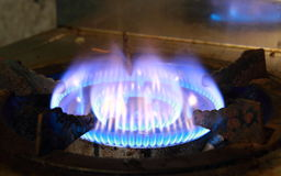 Burning on a gas stove Stock Photo