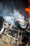 Burning gas truck road accident close up Royalty Free Stock Image