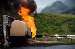 Burning gas truck road accident Royalty Free Stock Photography