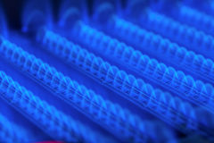 Burning gas in water heater furnace Royalty Free Stock Photography