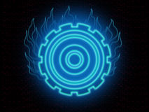 Burning gear on black. Abstract blue glowing and burning gear wheel against red patterns on black Royalty Free Stock Photos