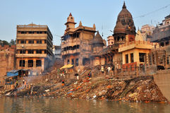 Burning Ghat in Varanasi, India Stock Photo