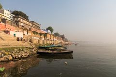 Burning Ghat at Varanasi, India royalty free stock image