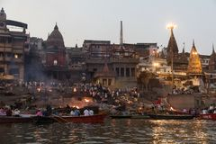 Burning Ghat at Varanasi, India stock photos