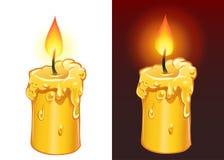 Burning giallo della candela Immagini Stock